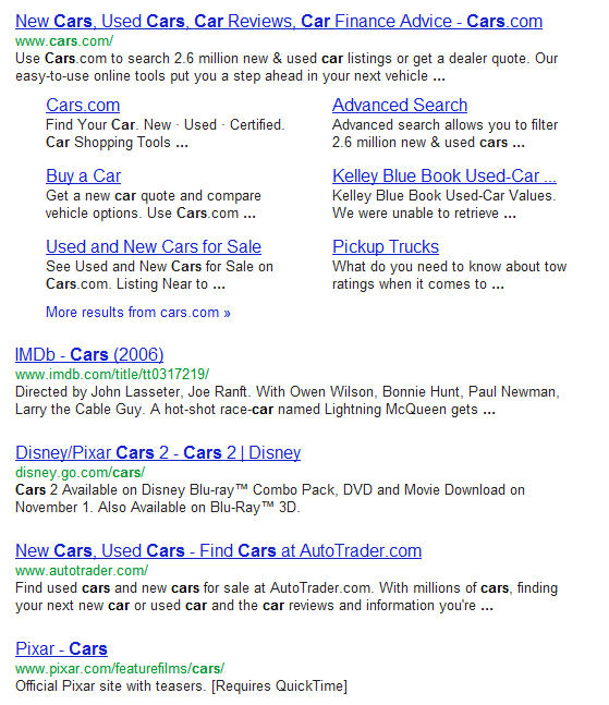cars google search results