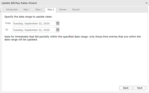 Update Bill/Pay Rates Wizard